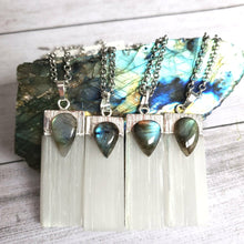 "Load image into Gallery viewer, ""Gypsums And Totals"": Satin Spar with Labradorite Necklaces"