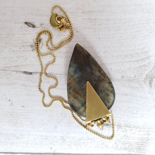 "Load image into Gallery viewer, ""Spike Place Market"": Labradorite with Spike Charms Necklace"