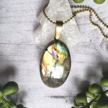 "Load image into Gallery viewer, ""Flash Dance"": Labradorite Necklace with Intricate Back Design"