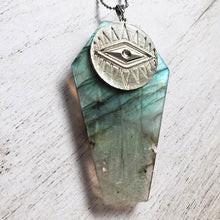 "Load image into Gallery viewer, ""Death Doth Become You"": Labradorite Coffin Necklace with Eye Design"