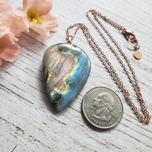 "Load image into Gallery viewer, ""Rainbow Rose"": Labradorite Necklace with Medallion Design (A)"