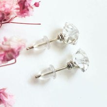 "Load image into Gallery viewer, ""Clear Elegance"": Herkimer Diamond Wire-Wrapped Post Earrings"