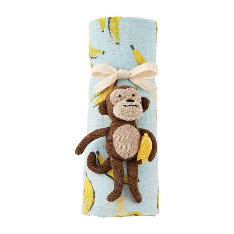 MONKEY RATTLE AND SWADDLE SET