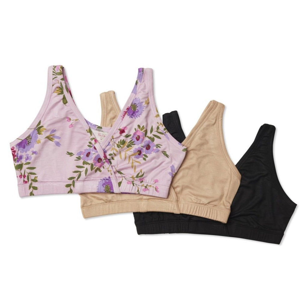 Paisley 3-Pack Bra - Dusty Rose