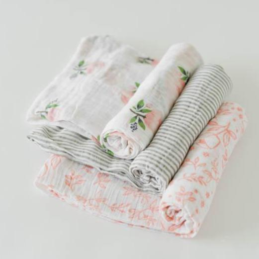 Little Unicorn Cotton Muslin Swaddle Blanket Set - Garden Rose