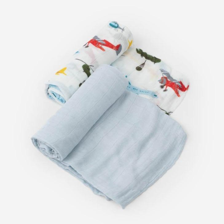 Little Unicorn Deluxe Muslin Swaddle Blanket Set - Air Show