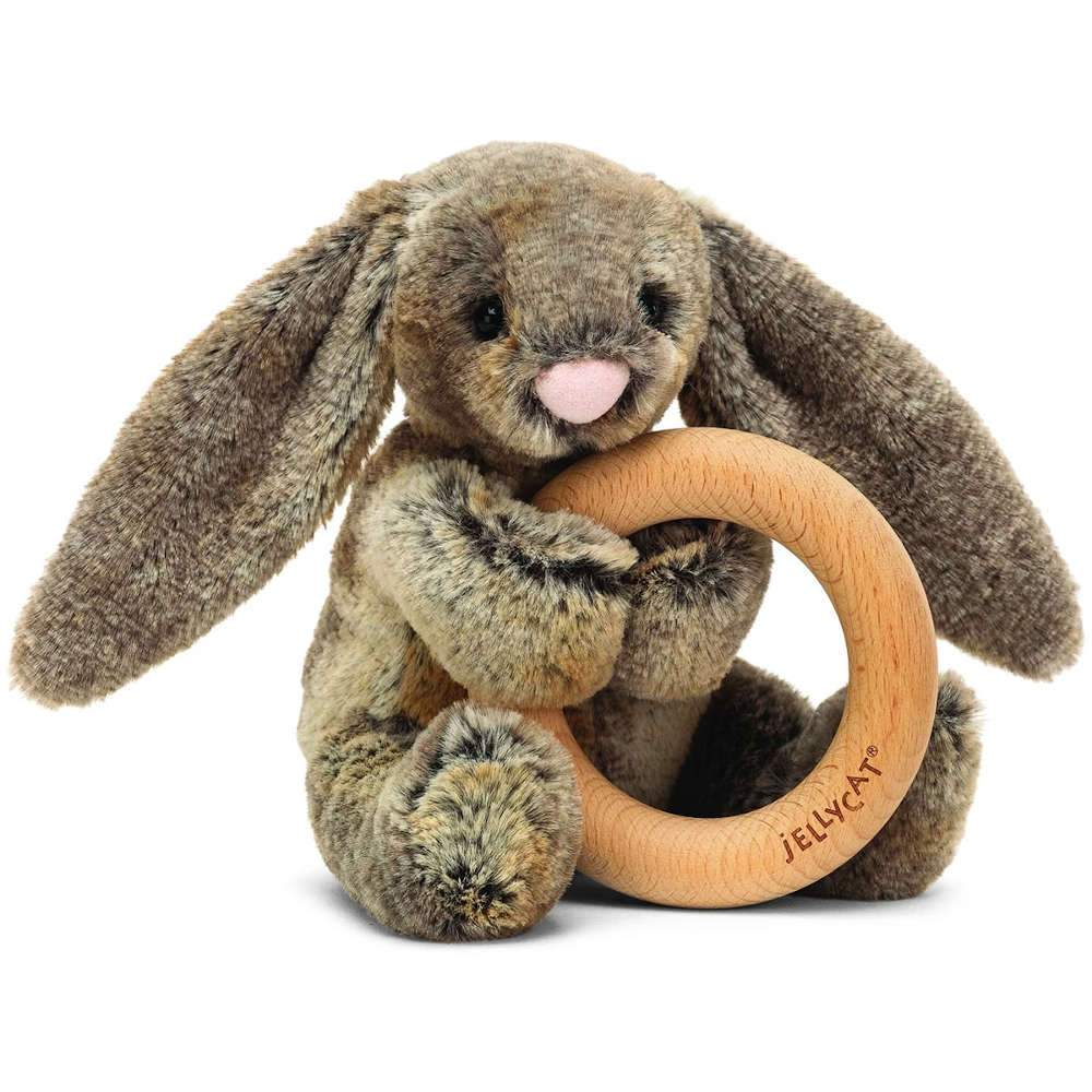 Jellycat Bashful Woodland Bunny Wooden Ring Rattle