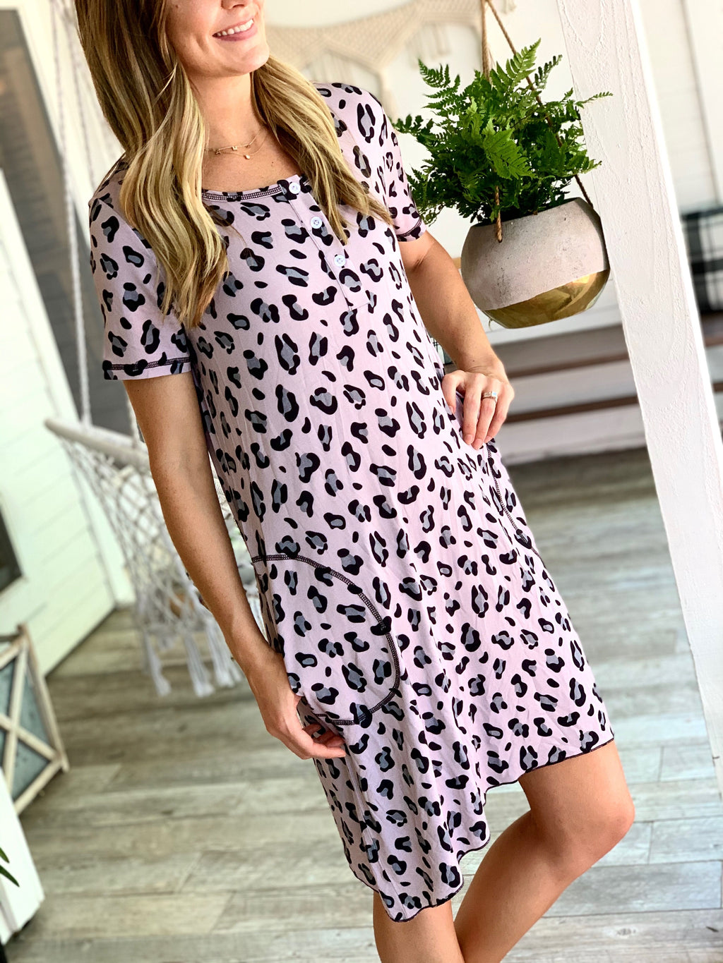 Mommy Gown SS Lana Leopard Pink