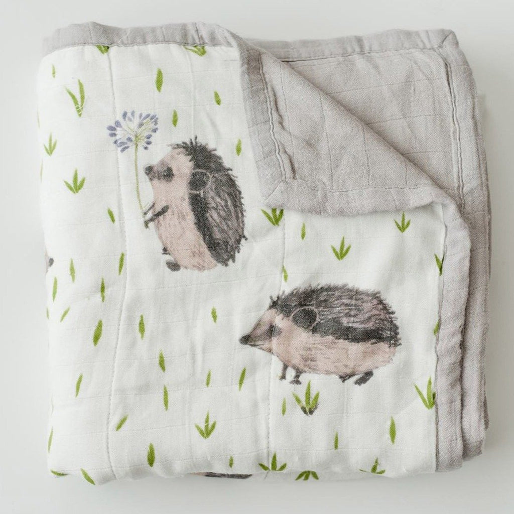 Little Unicorn Deluxe Muslin Quilt - Hedgehog