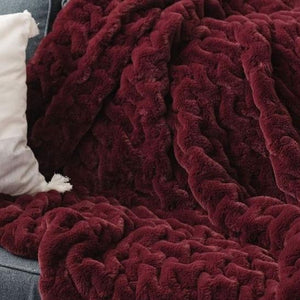 Saranoni Cranberry Ruched Minky Extra Large Throw