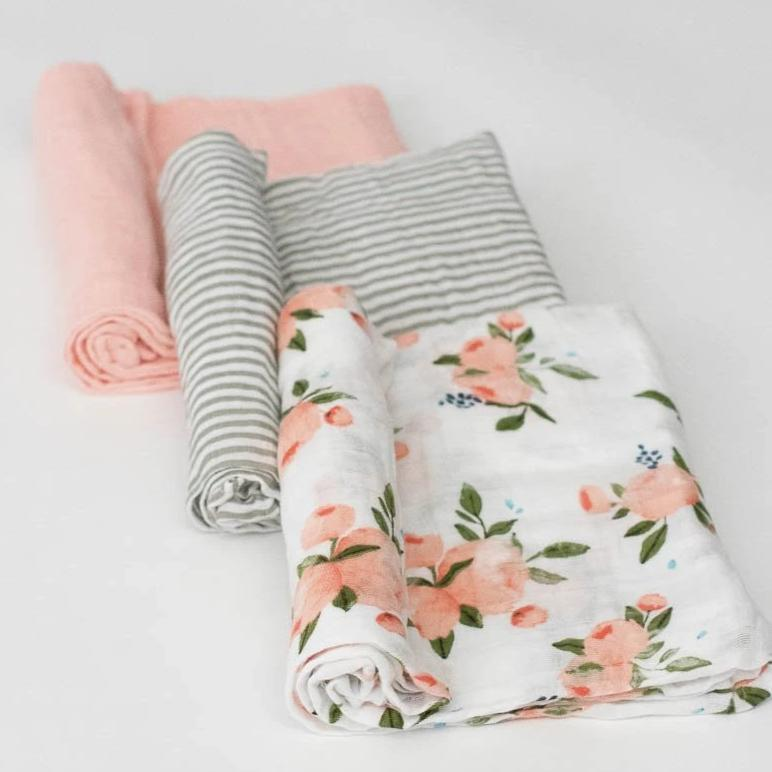 Little Unicorn Cotton Muslin Swaddle Set - Watercolor Roses