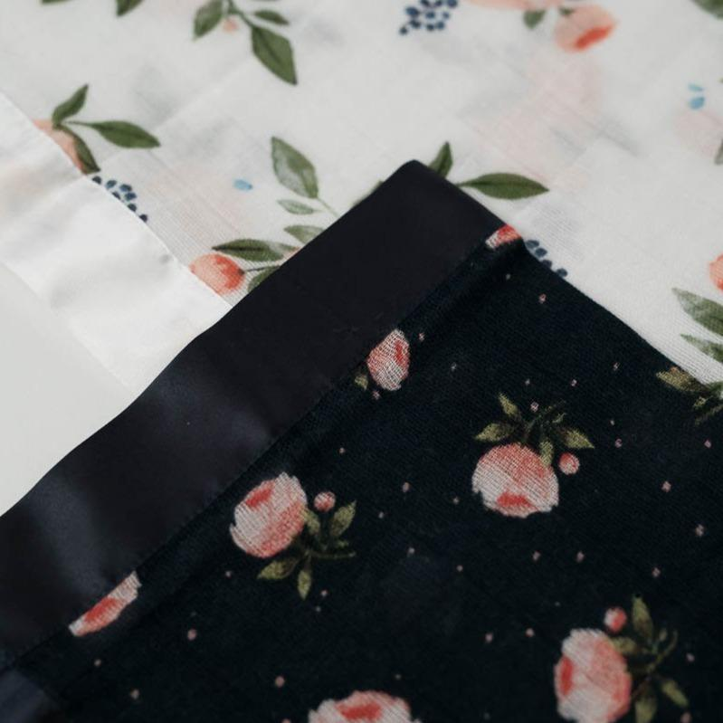 Little Unicorn Cotton Muslin Security Blankets - Watercolor Roses + Midnight Rose