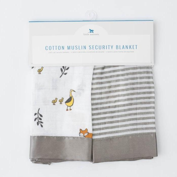 Little Unicorn Cotton Muslin Security Blankets - Forest Friends + Grey Stripe