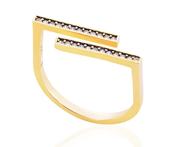 Cupid Double Bar Zircon Ring