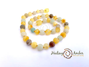 Raw Gold Amber & Amazonite Gemstone ~ 11 inches