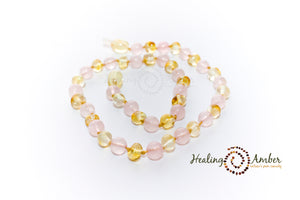 Gold Amber & Rose Quartz - 9 inch (clasp)