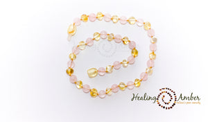 Gold Amber & Rose Quartz ~ 15 inch
