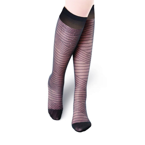 Fashion Root Style, Ultra Sheer 20 Den Patterned KneeHigh