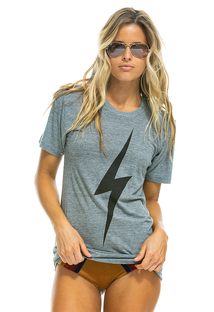 Aviator Nation Bolt Crew Tee in Heather Grey