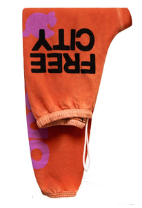FREE CITY Lets Go Supervintage Sweatpant in Orangesun Sunfade