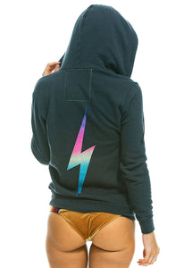 Aviator Nation Bolt Zip Hoodie in Rainbow Pink