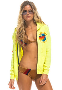 Aviator Nation Neon Zip Logo Hoodie in Neon Yellow
