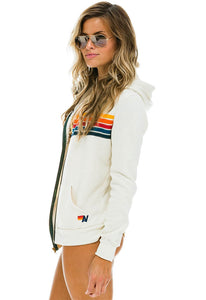 Aviator Nation 5 Stripe Zip Hoodie in Vintage White