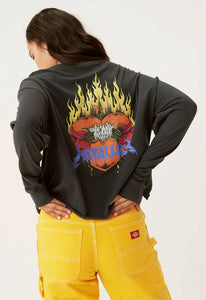 DAYDREAMER Metallica Flaming Skull Oversized Long Sleeve Crop Tee