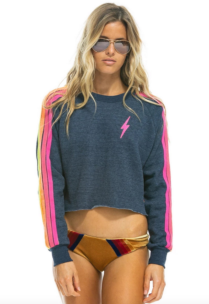 Aviator Nation Bolt Classic Cropped Crew Neck Sweatshirt