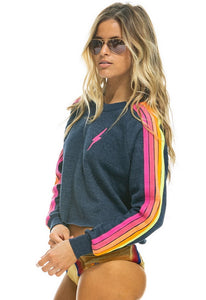 Aviator Nation Bolt Classic Cropped Crew Neck Sweatshirt in Heather Navy Neon