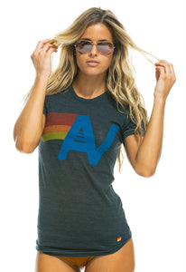 Aviator Nation Logo Crew Tee Shirt in Vintage Charcoal