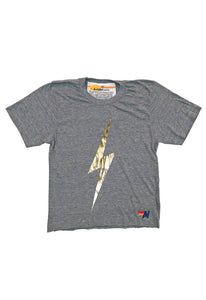 Aviator Nation Bolt Metallic Boyfriend Tee in Heather Grey/Metallic Gold