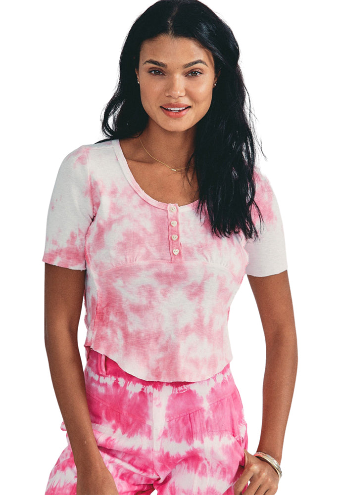 LoveShackFancy Aeris Top in Millennial Pink Hand Dye