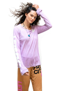 FREE CITY LNL Lets Go Long Sleeve Tee in Pinkmilk