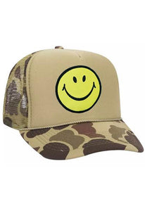 Aviator Nation Smiley Vintage Trucker Hat in Camo