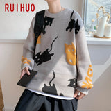 RUIHUO Cartoon Knit Sweater Men Clothing 2020 Fashion Harajuku Sweaters Pullover Mens Sweater For Men Korean Clothes M-2XL