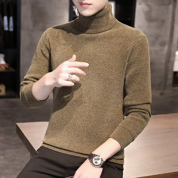 2020 autumn new wool sweater male high neck Korean style slim handsome youth casual knitted sweater