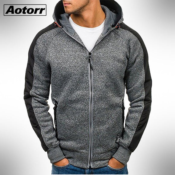 New Mens Hooded Jackets Autumn Winter Slim Fit Coats Male Casual Long Sleeve Hoodies Zipper Sweatshirts Men Fashion Streetwear