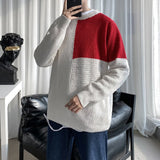 RUIHUO Patchwork Knitted Sweater Men Clothing Harajuku Sweaters Pullover Men Sweater Fashion Mens Clothes M-2XL 2020