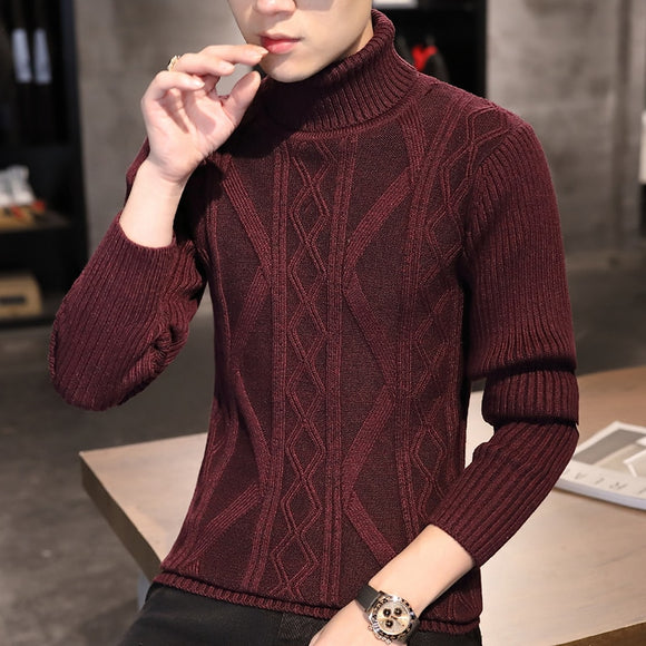 020 autumn and winter new men's high neck sweaters Korean style slim handsome youth casual knitted sweaters