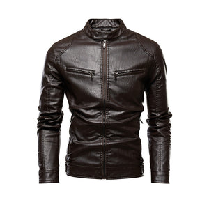 Autumn Jacket Men New Slim Retro Winter Jackets Male PU Leather Stand Collar Sportswear Suits Mens Bomber Coat Chaqueta Hombre