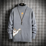 RUIHUO 2020 Autumn Japanese Cartoon Cat Winter Knitted Sweater Men Clothes Pullover Men Sweater Black Men's Sweater Knit M-5XL