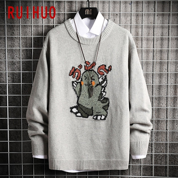 RUIHUO Cartoon Monster Knitted Sweater Men Clothing Harajuku Sweaters Pullover Men Sweater Fashion Mens Clothes M-3XL 2020