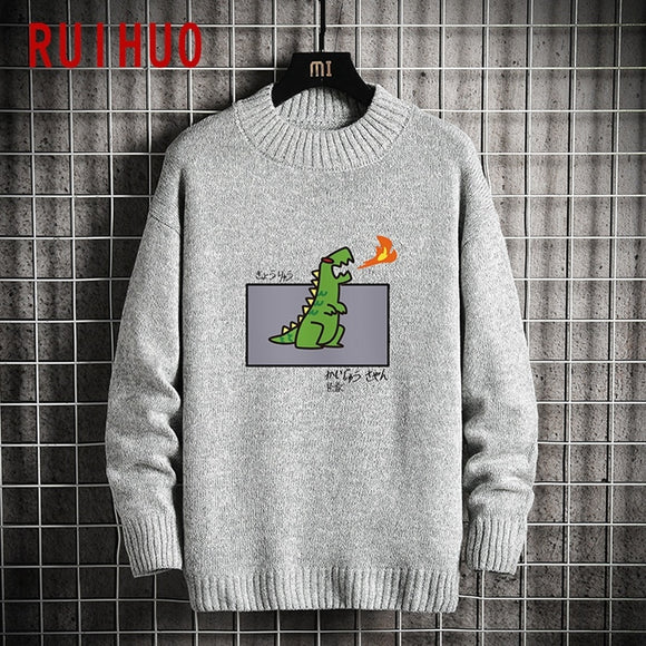 RUIHUO 2020 Autumn O-Neck Cartoon Dinosaur Sweater For Men Coat Knit Man Sweater Clothes Korean Men's Knitted Sweater M-5XL