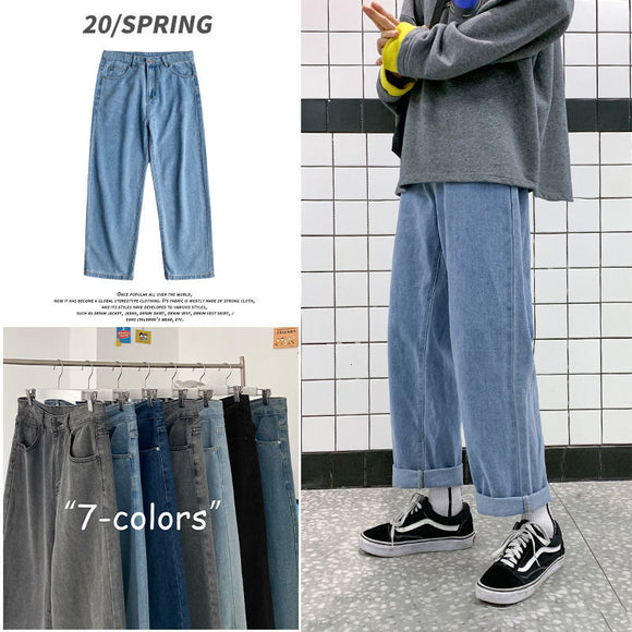 PR Man Large Straight Casual Jeans Mans 2020 Autumn Fashion Collage Streetwear Jeans Loose Denim Pants Male Clothing