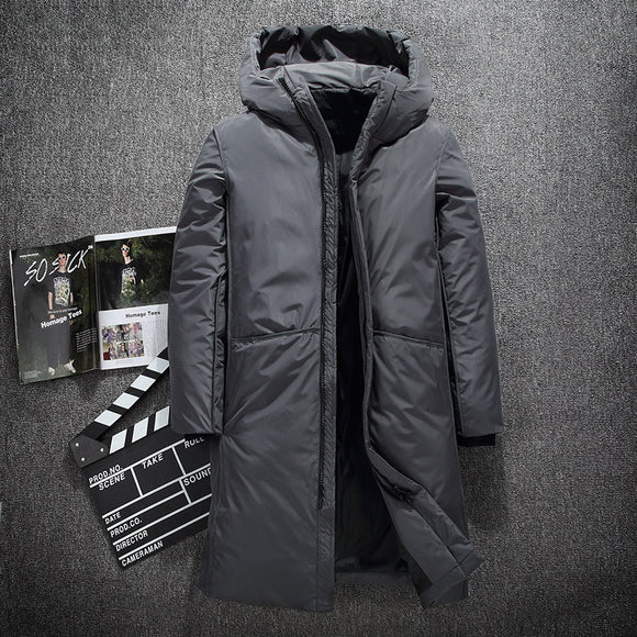 Men Coat Warm Thick Winter Down Jacket Men Fashion Brand Clothing Top Quality X-Long Male White Duck Down Coat Size M-3XL