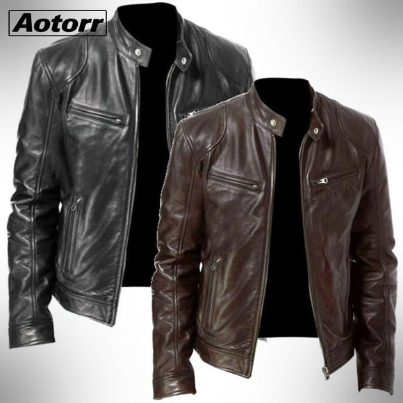 2020 Mens Fashion Leather Jacket Slim Fit Stand Collar PU Jacket Male Anti-wind Motorcycle Lapel Diagonal Zipper Jackets Men 5XL
