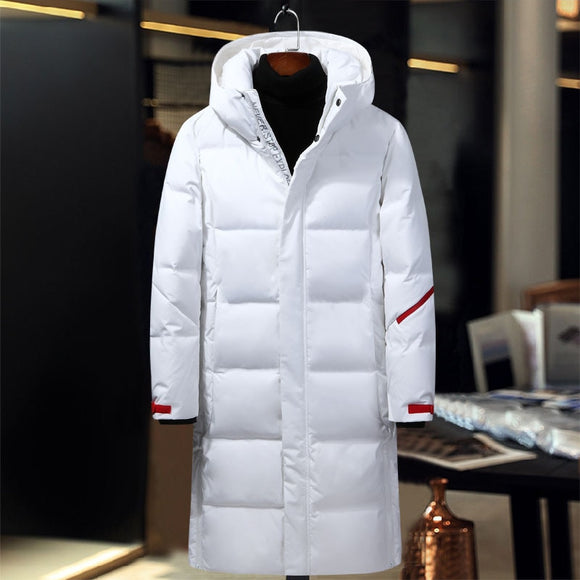 New Fashion Mens Hooded Extra Long Duck Down Jackets Man Thick Winter Down Coats High Quality Overcoats Down Parka Outerwear