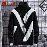 RUIHUO Striped Knitted Turtleneck Sweater Men Clothing Turtleneck Men Sweater Fashion Pullover Men Sweaters M-3XL 2020