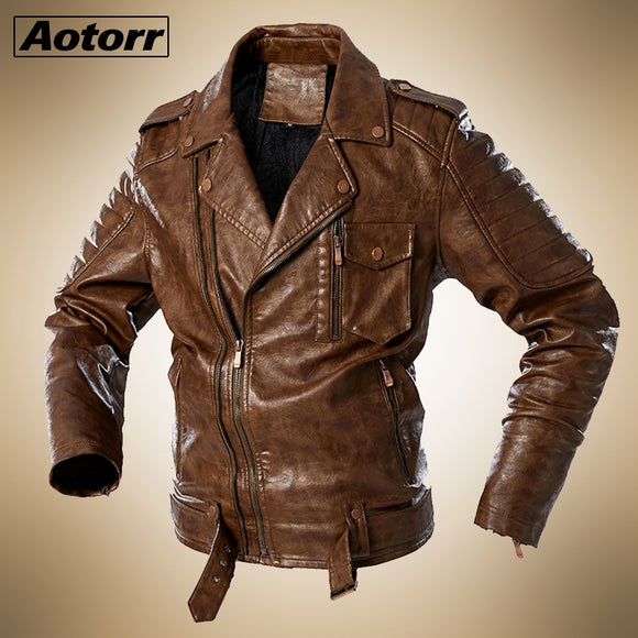 2020 Fashion Mens Leather Jacket Fur Lined Warm Motorcycle Jacket Street Fashion Men Brown Zipper Biker Coats Plus Size Coats